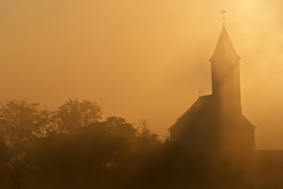 church in mist